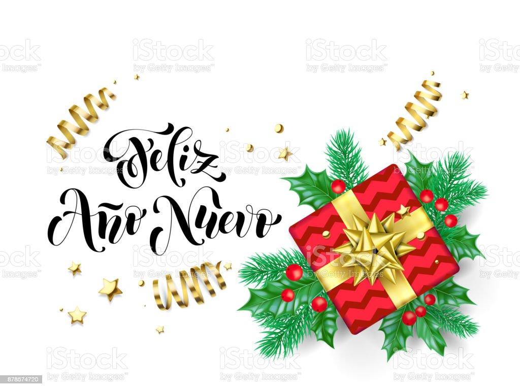 Feliz ano nuevo spanish happy new year calligraphy hand drawn text feliz ano nuevo spanish happy new year calligraphy hand drawn text for greeting card background template m4hsunfo