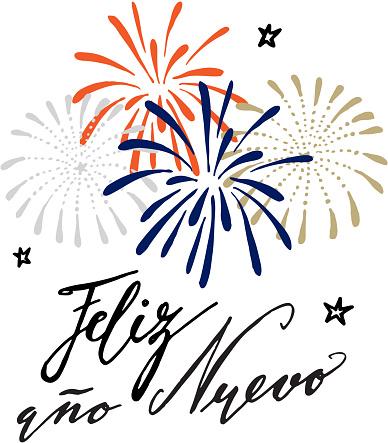 Feliz ano nuevo, Spanish Happy New Year greeting card