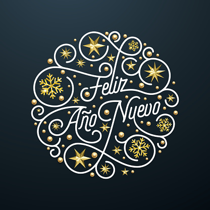 Feliz Ano Nuevo Spanish Happy New Year Navidad calligraphy lettering, golden snowflake star pattern decoration on white background for greeting card. Vector golden Christmas flourish holiday text