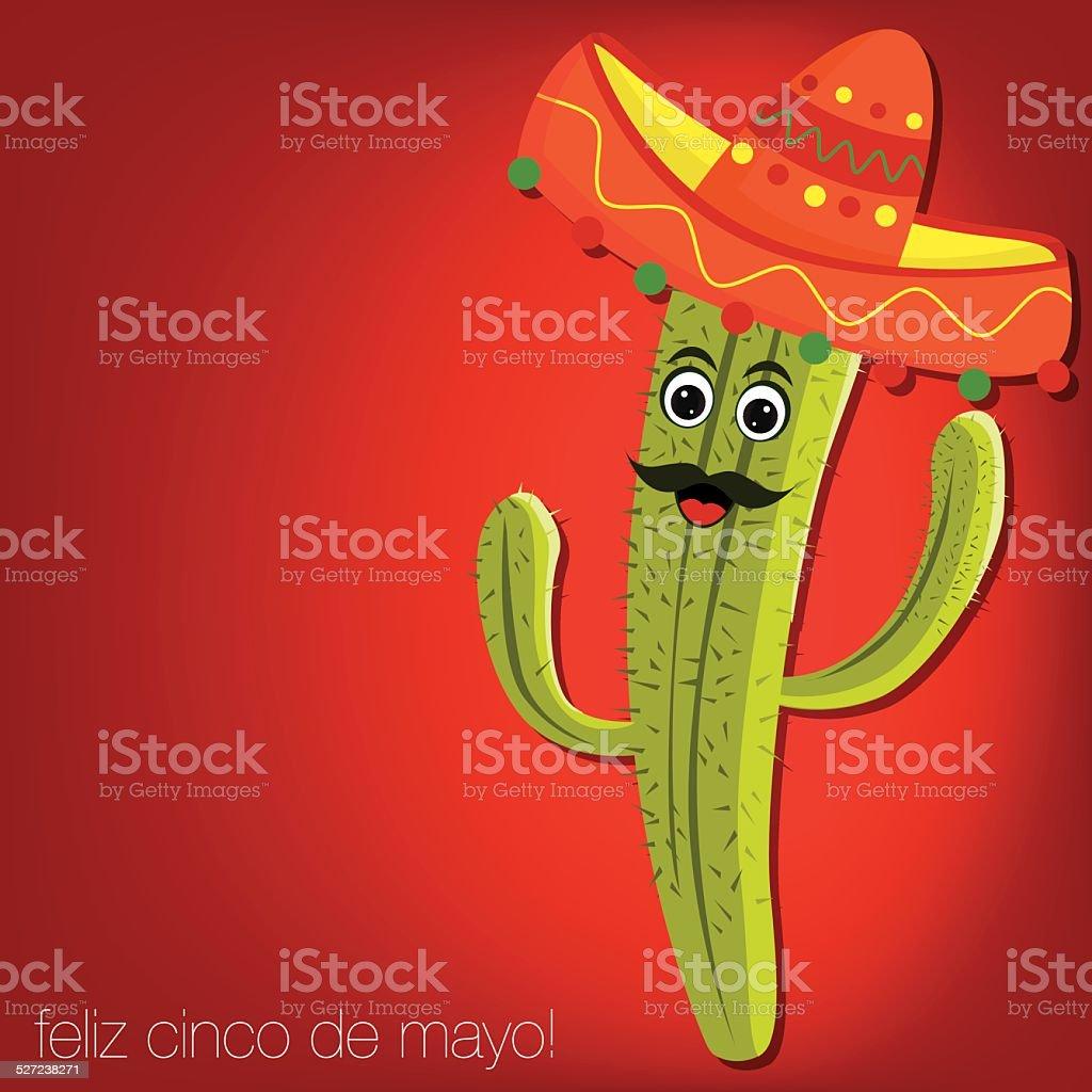 'Feliz Cinco de Mayo' (Happy 5th of May) cactus card vector art illustration