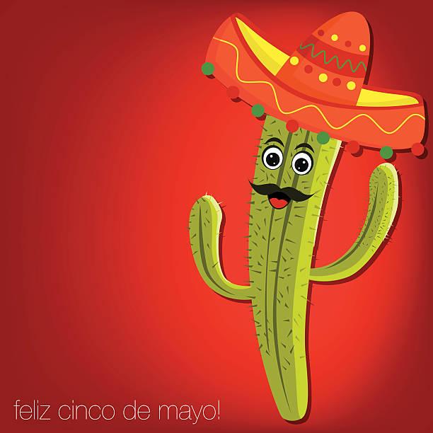 """""""feliz cinco de mayo"""" (happy 5th of may) cactus card - cinco de may stock illustrations, clip art, cartoons, & icons"""