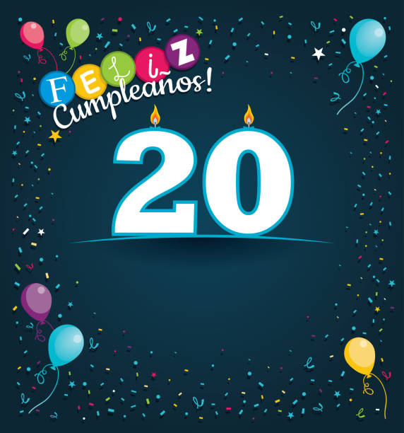 feliz cumpleanos 20 - happy birthday 20 in spanish language - greeting card with white candles in the form of number with background of balloons and confetti of various color on dark blue background - alejomiranda stock illustrations
