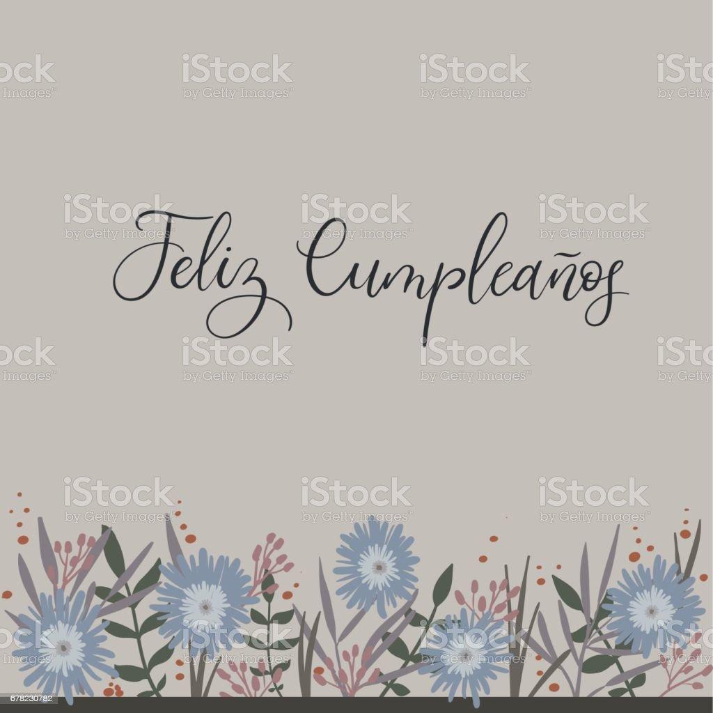 Feliz Cumpleanos Happy Birthday In Spanish Calligraphy Greeting Card