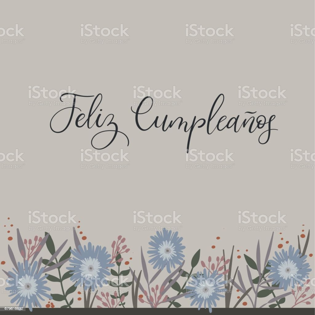 Feliz cumpleanos happy birthday in spanish calligraphy