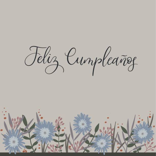 Feliz Cumpleanos - Happy Birthday in Spanish. Calligraphy greeting card Feliz Cumpleanos - Happy Birthday in Spanish. Calligraphy Greeting Card. Handwritten inscription. Handwritten ink text for birthday greeting card, poster design and gift tags. Vector illustration migratory workers stock illustrations