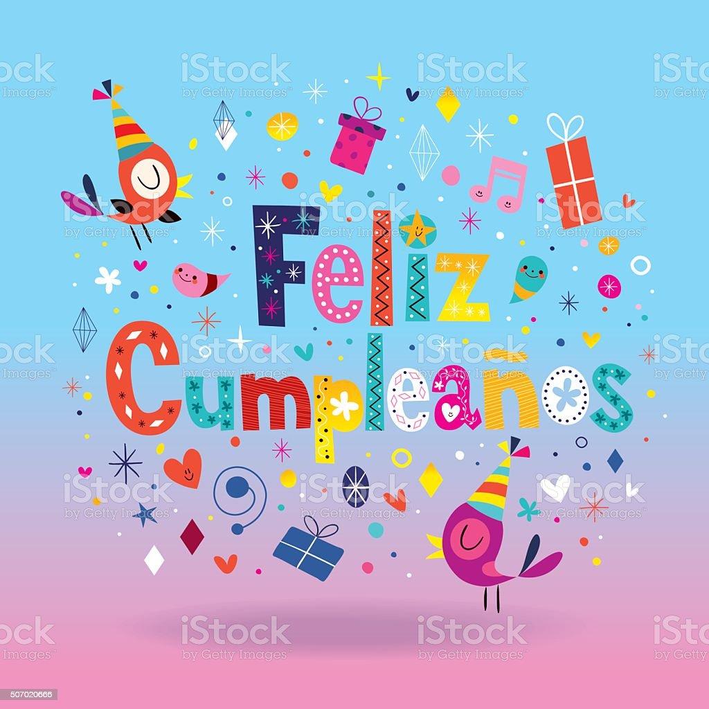 Feliz Cumpleanos Happy Birthday In Spanish Card Stock Vector Art