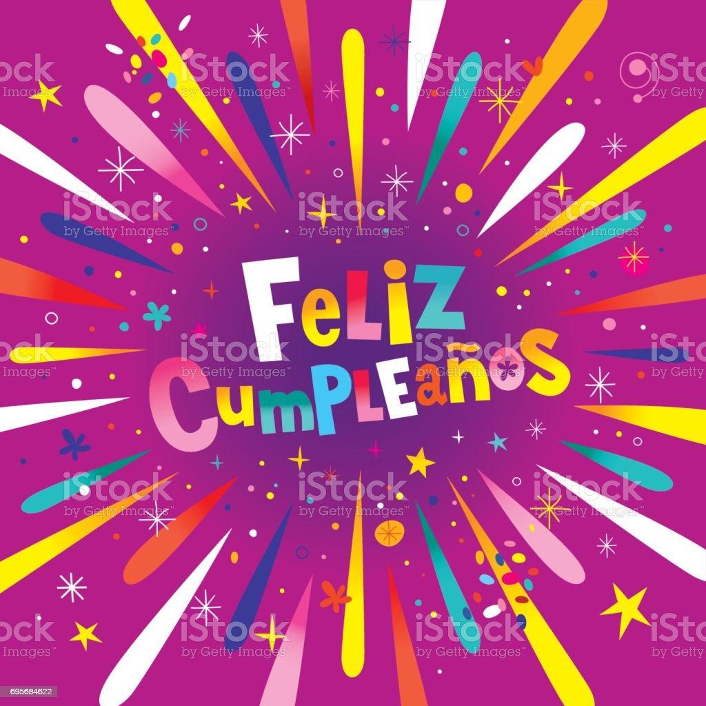 Feliz Cumpleanos Happy Birthday In Spanish Card stock vector art – Spanish Birthday Cards Free