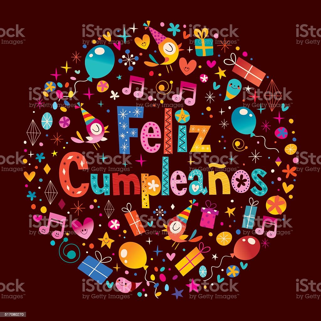 Feliz Cumpleanosbuon Compleanno In Spagnolo Biglietto Dauguri