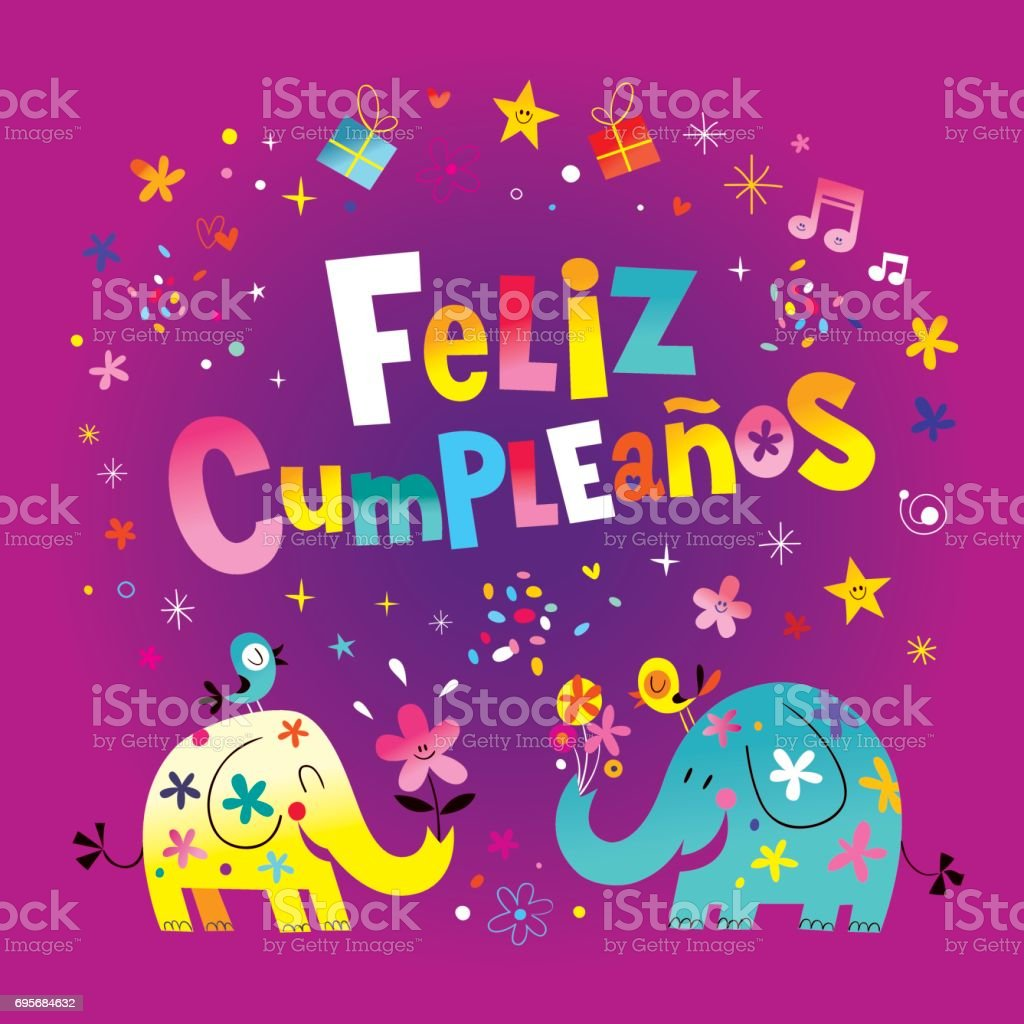 Feliz Cumpleanos Happy Birthday In Spanish Greeting Card Stock