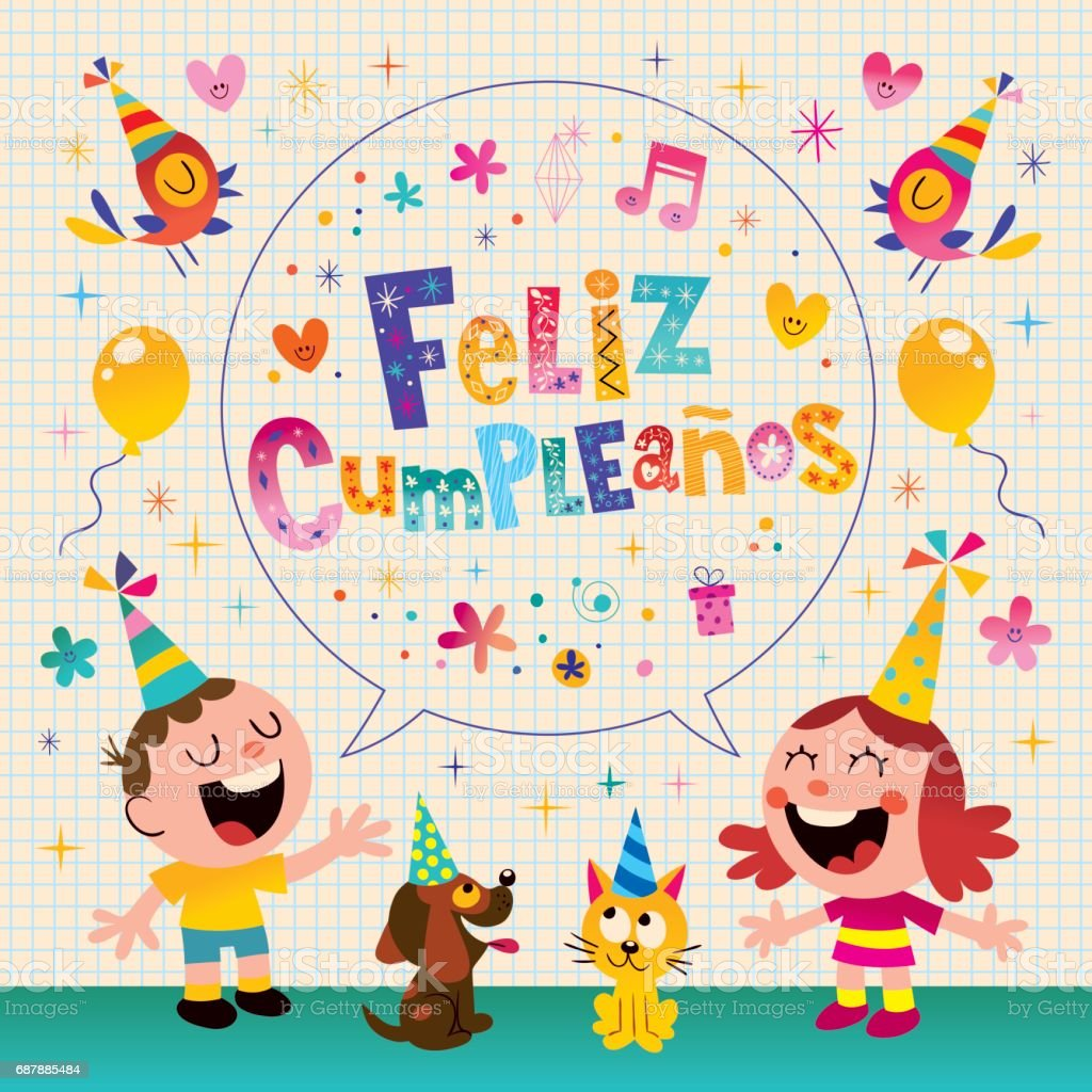Feliz Cumpleanos Happy Birthday In Spanish Kids Greeting Card Stock