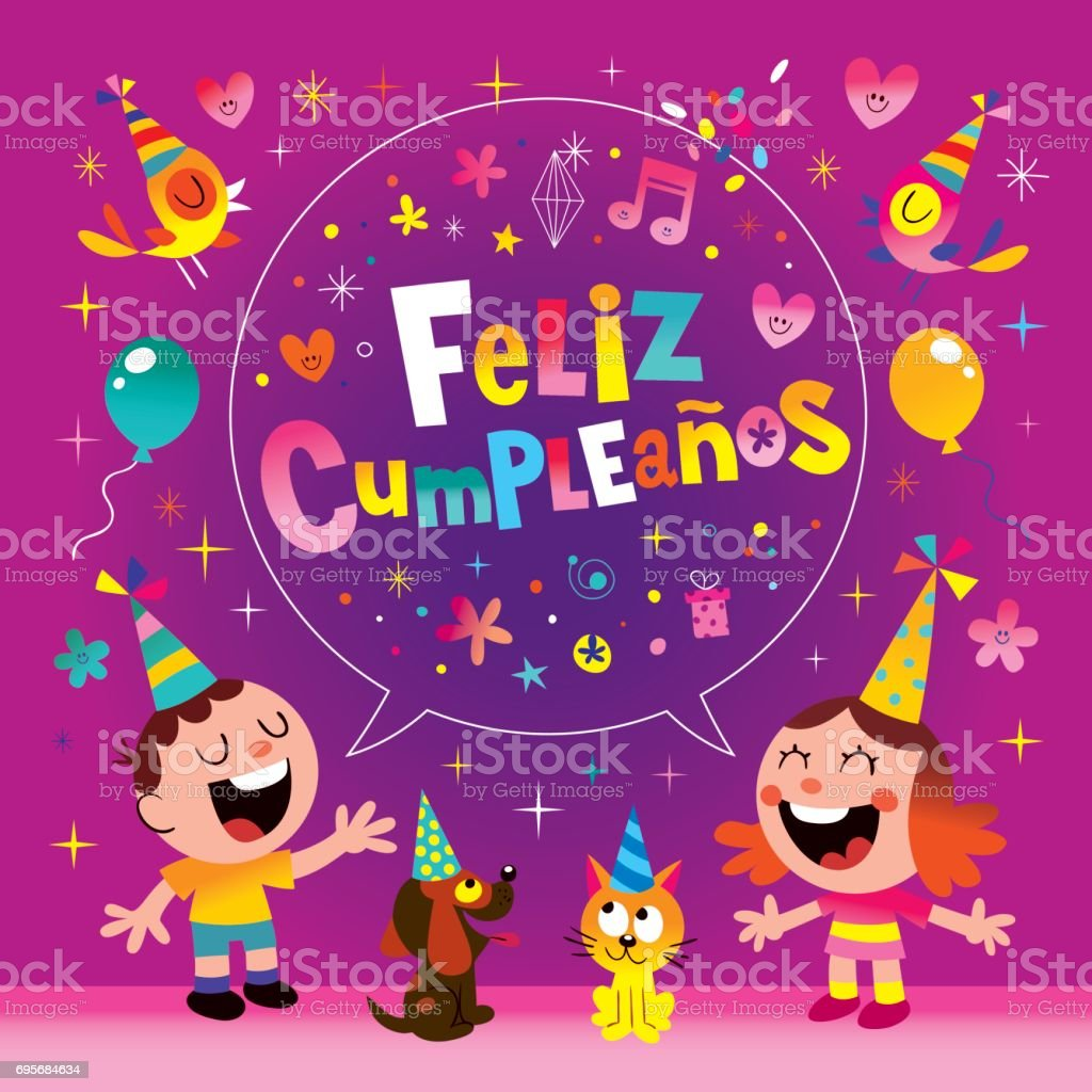 Feliz Cumpleanos Happy Birthday In Spanish Kids Greeting Card Stock