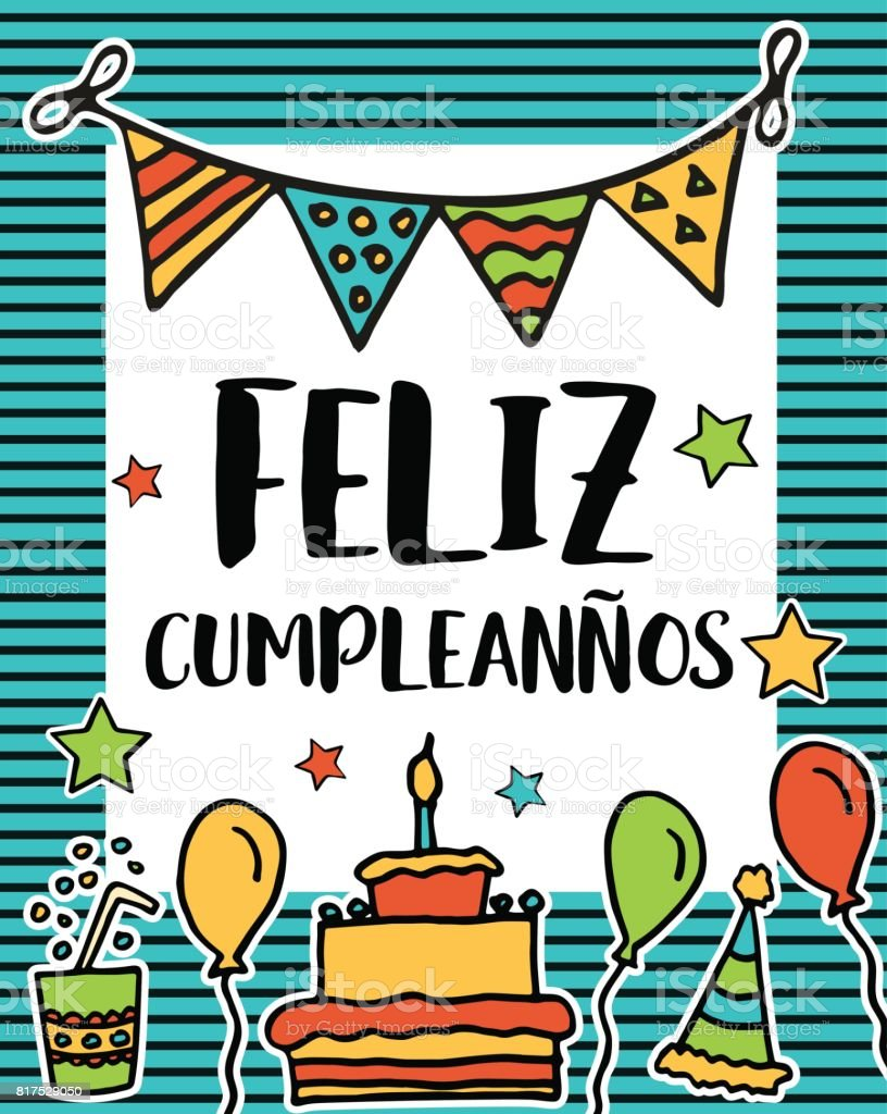 Feliz cumpleanos, happy birthday in spanish language, poster vector art illustration
