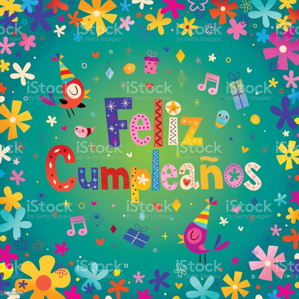 Feliz Cumpleanos Joyeux Anniversaire En Espagnol Cliparts