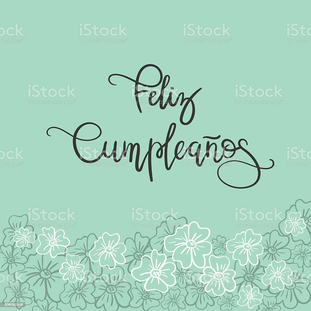 Feliz Cumpleanos Happy Birthday Spanish Text Greeting Card Lizenzfreies