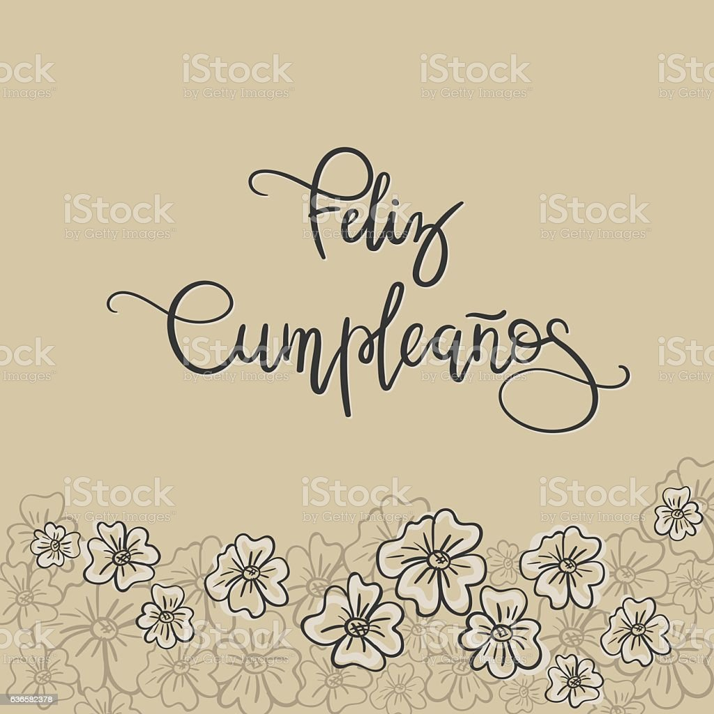 Feliz Cumpleanos Happy Birthday Spanish Text Greeting Card Royalty Free