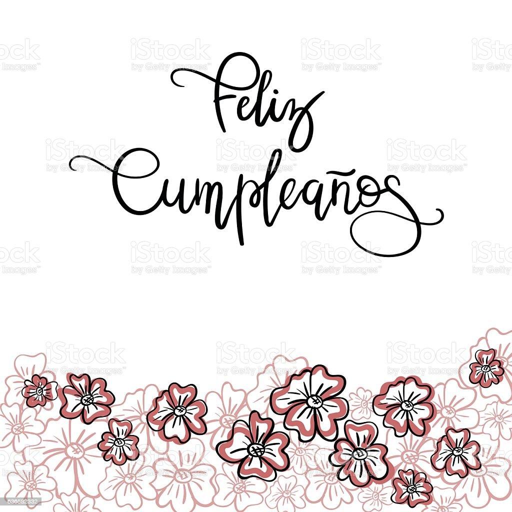 Feliz Cumpleanos Happy Birthday Spanish Text Stock Vector