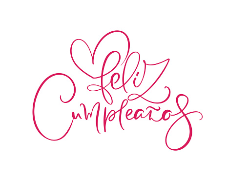Feliz Cumpleanos, translated Happy Birthday in Spanish. Stylish hand drawn lettering design, vector illustration. Isolated calligraphy script on white background