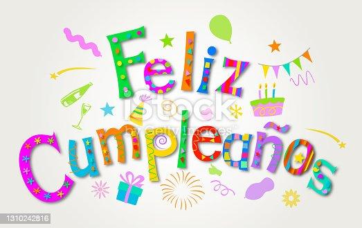 istock Feliz Cumpleaños - Happy Birthday in Spanish 1310242816