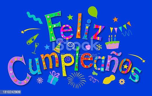 istock Feliz Cumpleaños - Happy Birthday in Spanish 1310242909
