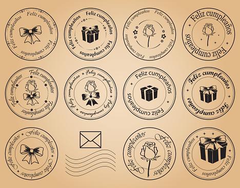 feliz cumpleaños - happy birthday - round postage stamps - vector black elements