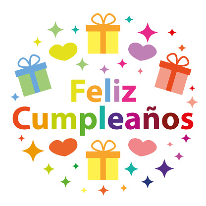 Feliz cumpleaños. Vector starry greeting card. Happy bbirthday in spanish.