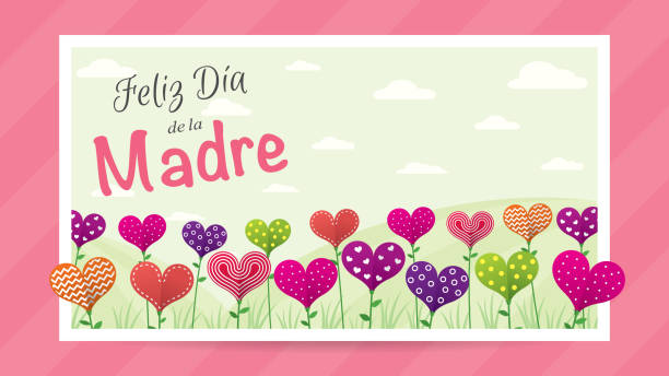 feliz dia de la madre - happy mother's day in spanish language - greeting card. field of flowers in the shape of a heart of different colors inside a white frame on a pink background. image with space to place text. - alejomiranda stock illustrations