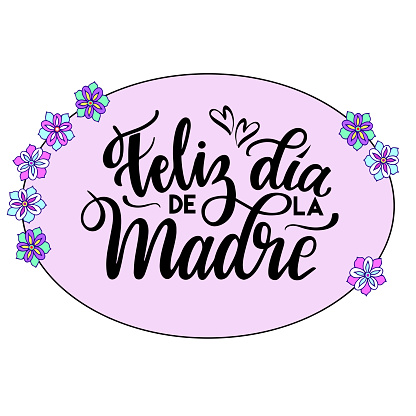 Feliz Dia de la Madre (Happy Mother's Day) vector illustration . Festivity text in oval frame. Hand drawn lettering typography poster on pink background. Text card invitation, template.