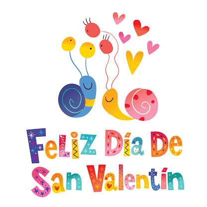 Feliz dia de San Valentin Happy Valentines Day in Spanish card