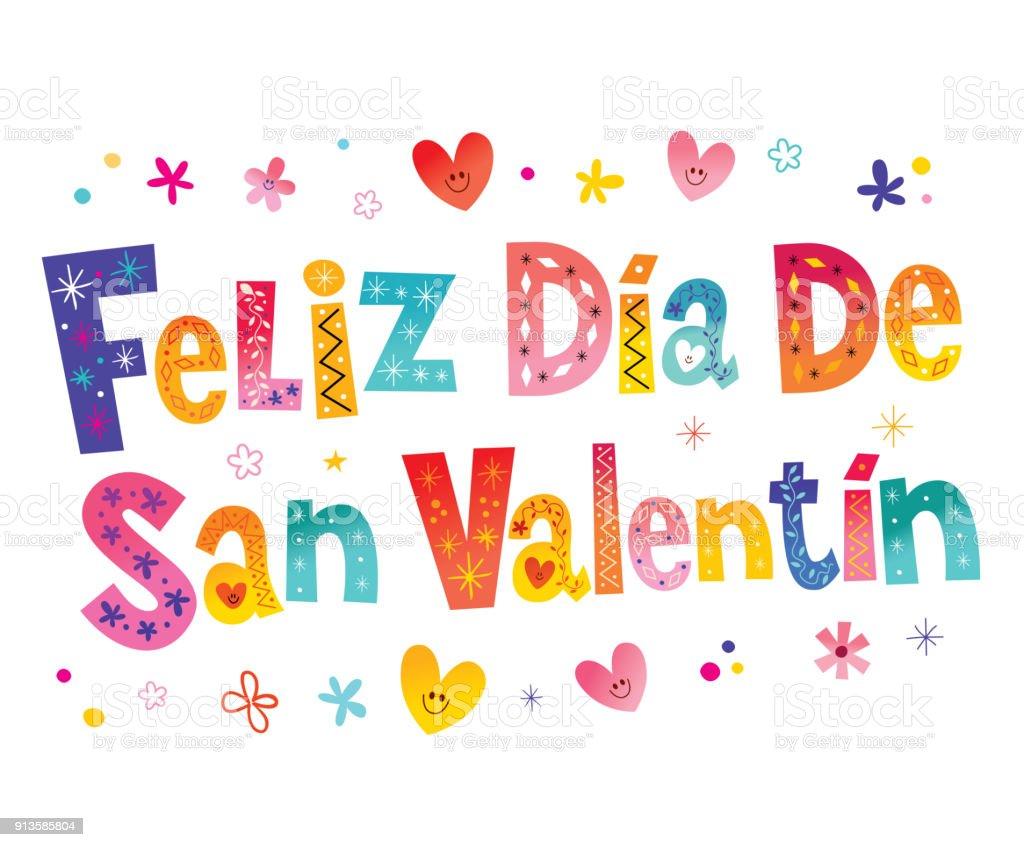 Feliz Dia De San Valentin Happy Valentines Day In Spanish Stock