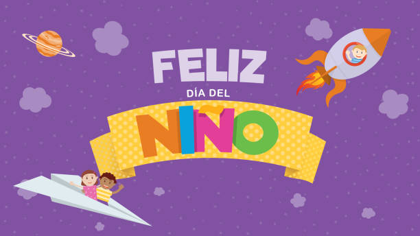 Feliz Dia del Nino greeting card - Happy Children's Day in Spanish language. Colored letters on a yellow ribbon with a child flying on a rocket and a couple of children on a paper plane on a purple sky with clouds and stars Feliz Dia del Nino greeting card - Happy Children's Day in Spanish language. Colored letters on a yellow ribbon with a child flying on a rocket and a couple of children on a paper plane on a purple sky with clouds and stars. Vector image alejomiranda stock illustrations