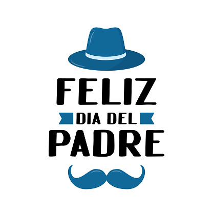 Feliz Dia del Padre (Happy Father's Day in Spanish) lettering isolated on white. Father day celebration in Mexico. Vector template for poster, banner, greeting card, flyer, postcard, invitation