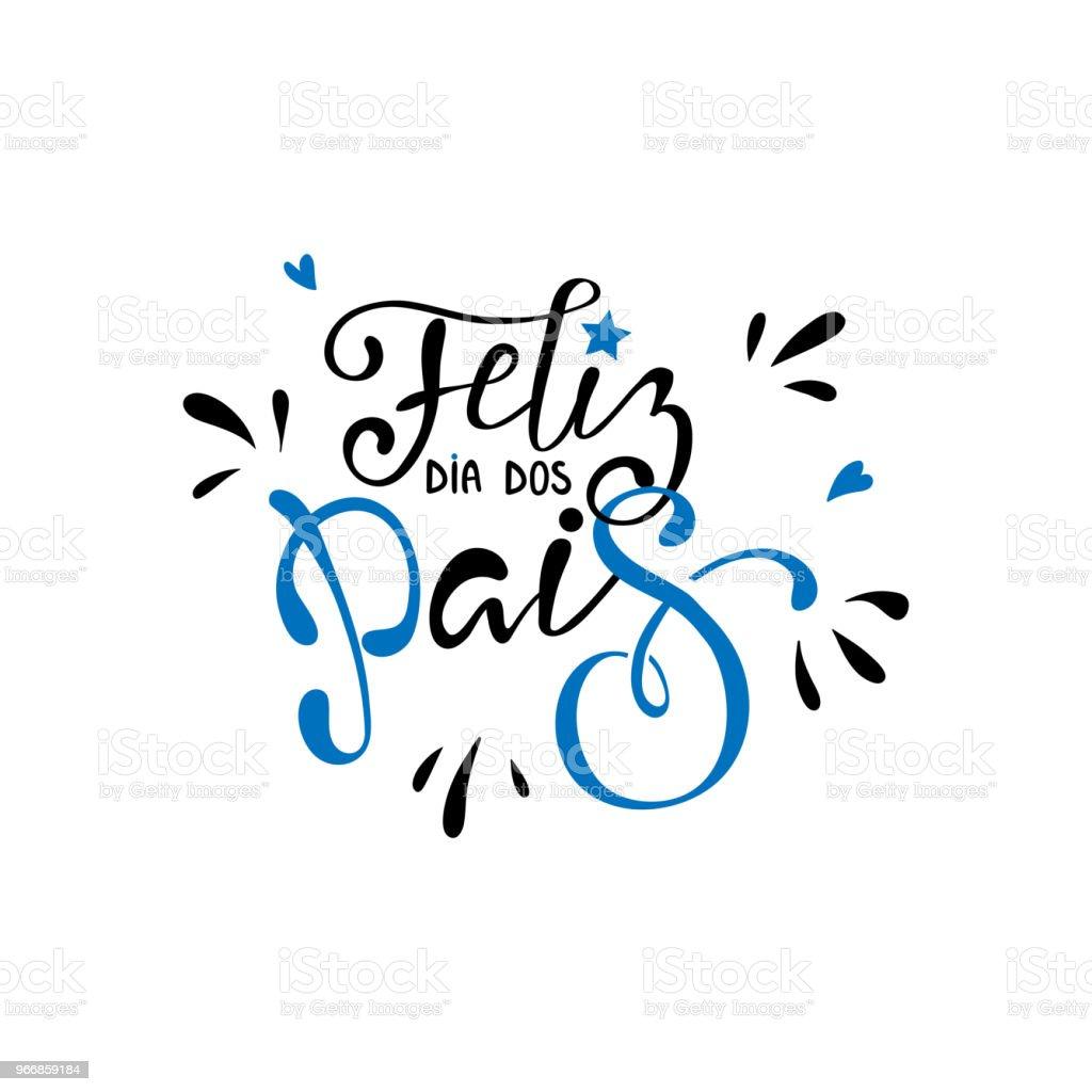 Feliz dia dos Pais - mutlu babalar günü vektör sanat illüstrasyonu