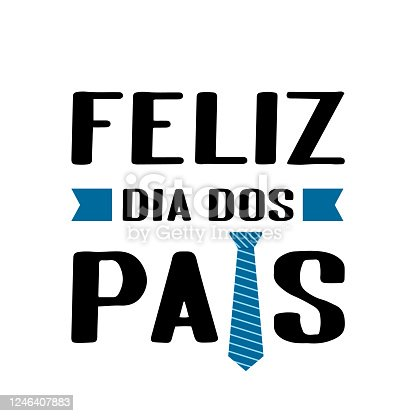 istock Feliz Dia dos Pais (Happy Father's Day in Portuguese) lettering isolated on white. Father day celebration in Brazil. Vector template for poster, banner, greeting card, flyer, postcard, invitation 1246407883