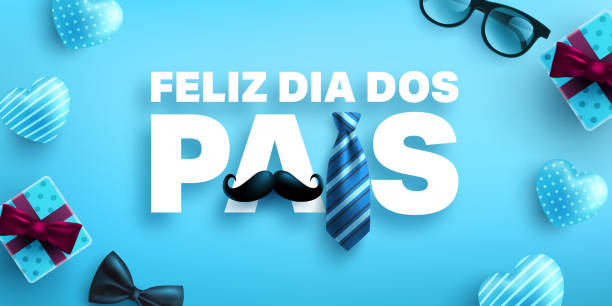 Feliz dia dos pais.Happy Father's Day in portuguese language with necktie and gift box on blue background.Greetings and presents for Father's Day.Vector illustration eps 10. vector art illustration