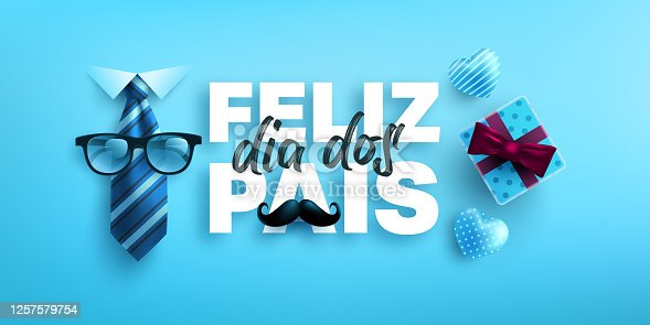 istock Feliz dia dos pais.Happy Father's Day in portuguese language with necktie and gift box on blue background.Greetings and presents for Father's Day.Vector illustration eps 10. 1257579754