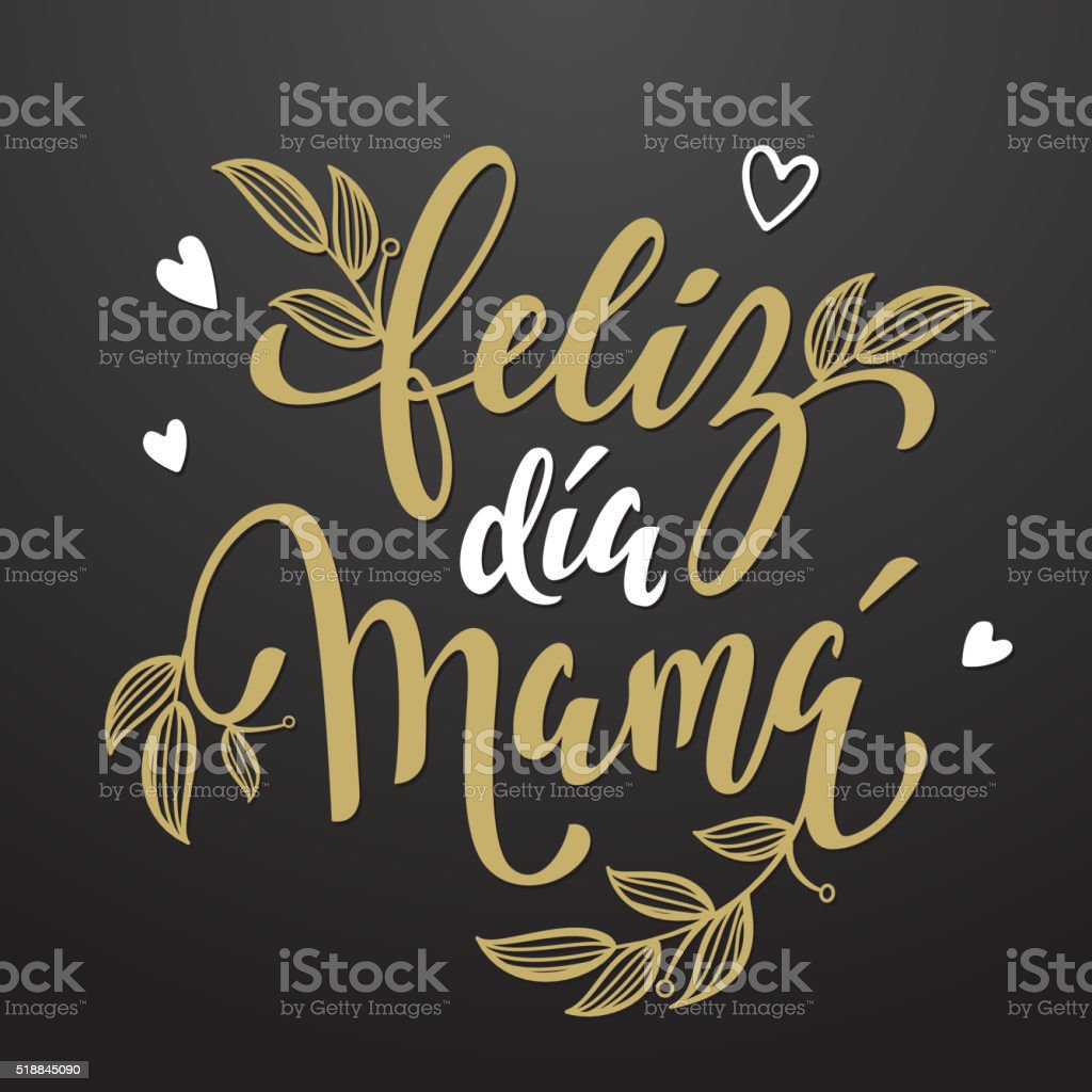 Feliz Dia Mama greeting card with floral leaves pattern. vector art illustration