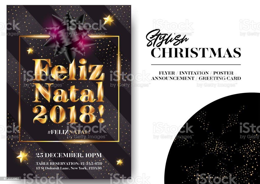 Feliz Navidad En Portugues Brasil.Ilustracion De Feliz Natal 2018 Feliz Navidad En Portugues