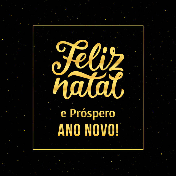 Feliz Natal e Prospero Ano Novo portuguese text Happy New Year and Merry Christmas. Vector greeting card with gold typography text and glitters on black background for winter holidays season. Merry Christmas and Happy New Year in portuguese ano novo stock illustrations