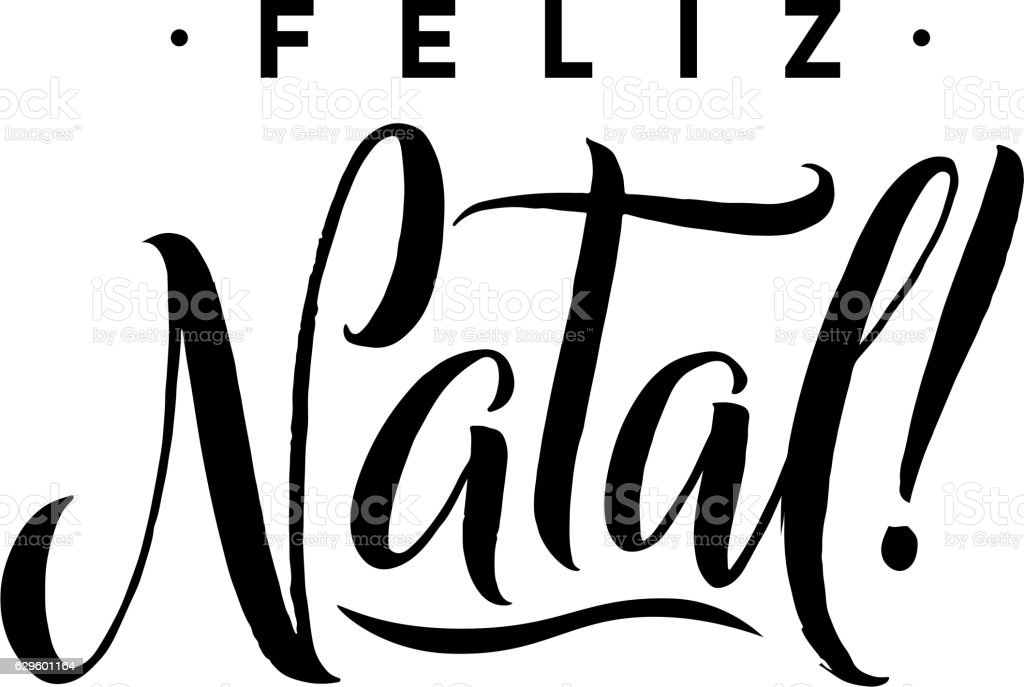 Feliz Natal Merry Christmas Calligraphy Template In Portuguese