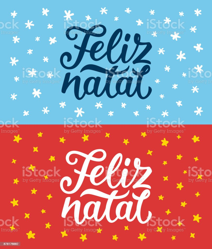 Feliz natal portuguese merry christmas calligraphy text on retro feliz natal portuguese merry christmas calligraphy text on retro style flat greeting cards set lettering m4hsunfo Image collections