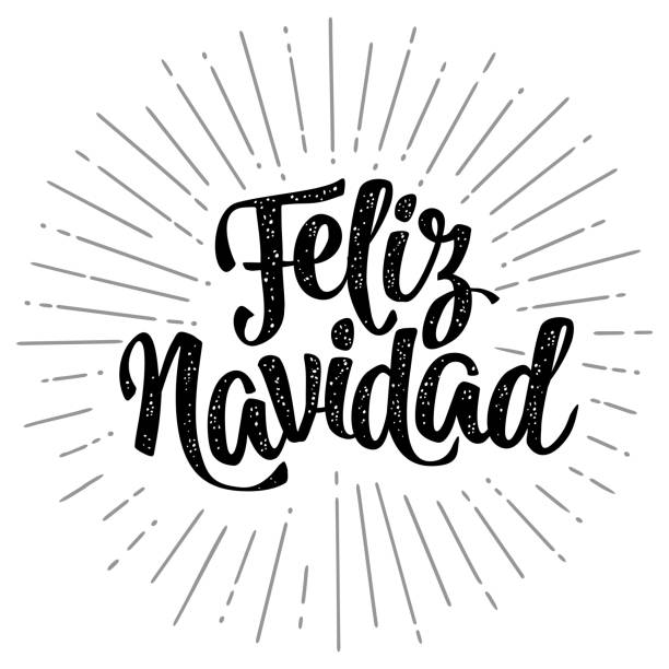 Feliz Navidad calligraphy lettering with salute on white background Feliz Navidad calligraphy lettering with salute. Vector vintage black illustration on white background for greeting card, poster, flayer, web, banner navidad stock illustrations