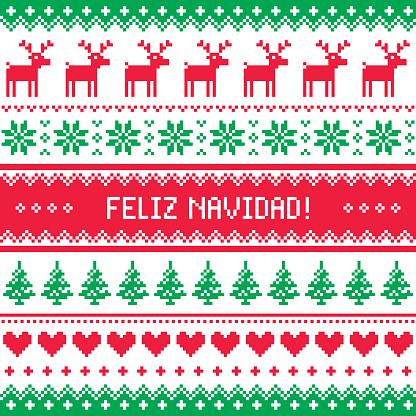 Feliz navidad card - scandinavian christmas pattern