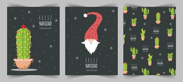 Feliz navidad cards with cute christmas elf and cactuses. Season greetings.