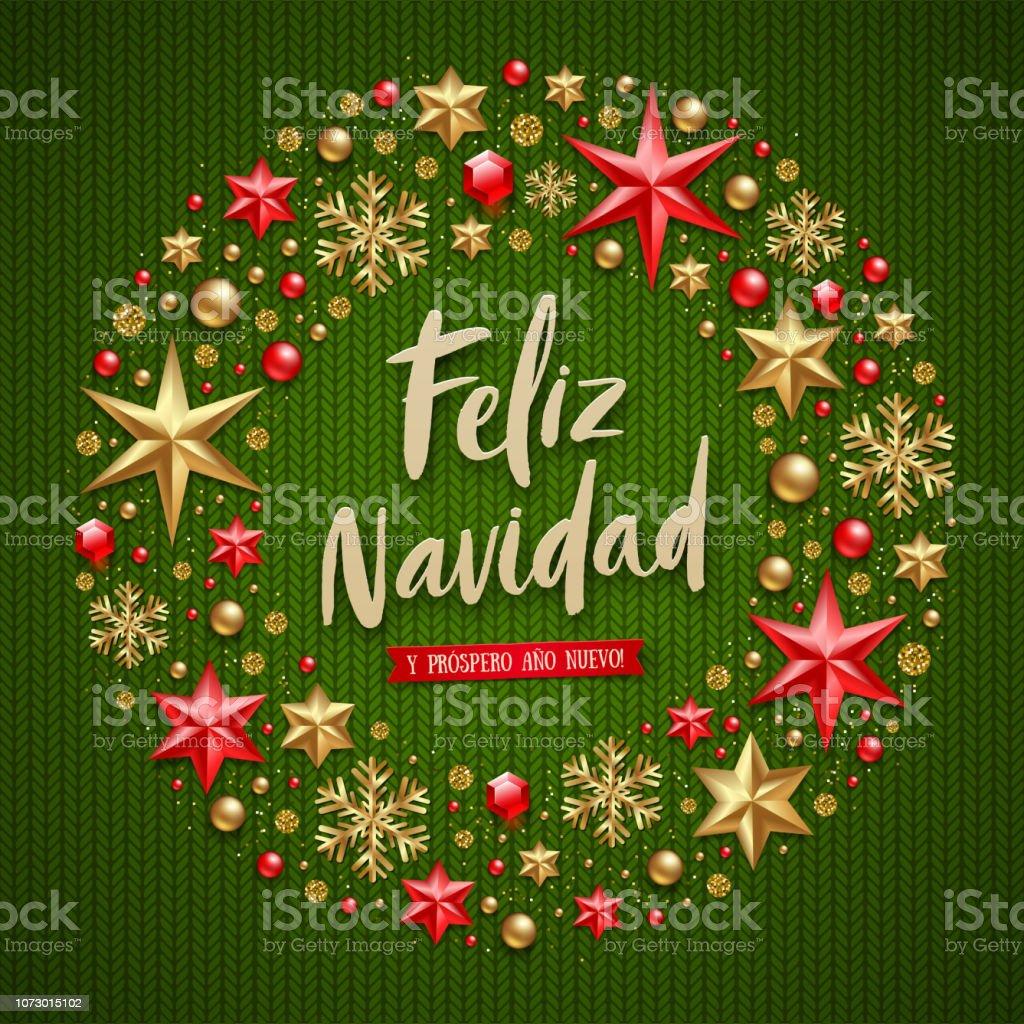 Christmas Wishes In Spanish.Feliz Navidad Christmas Greetings In Spanish Stock Vector