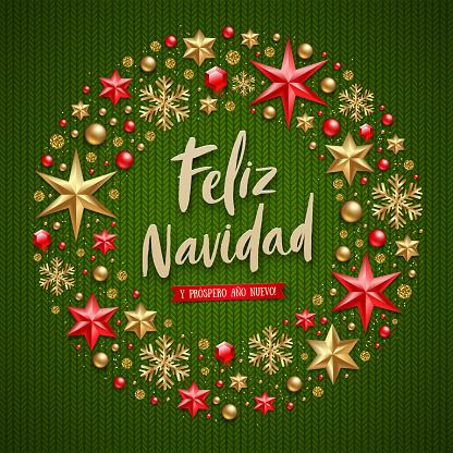 Weihnachtsgrüße Auf Spanisch.Feliz Navidad Weihnachtsgrüße In Spanisch Stock Vektor Art Und Mehr