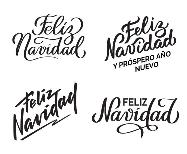 Feliz Navidad - Collection of hand-written texts Feliz Navidad - Merry Christmas from Spanish. Collection of hand-written texts, typography, calligraphy, lettering. Congratulation on Christmas holiday. Vector in one color navidad stock illustrations