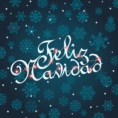 Feliz navidad greeting card. Vector template for Christmas greetings. Vector text calligraphic lettering design card mockup