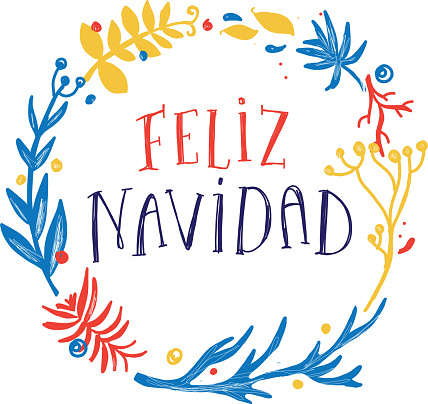 Feliz Navidad greeting design with hand drawn text and wreath with variety of branches