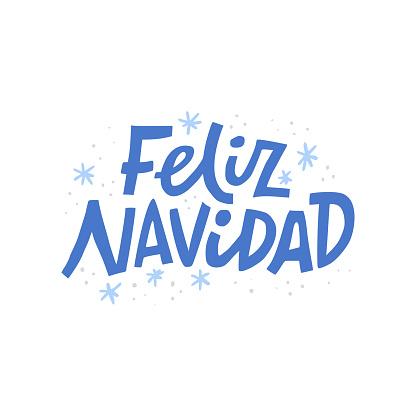 Feliz navidad hand drawn blue vector lettering