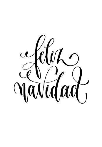 feliz navidad - hand lettering inscription Merry Christmas spani